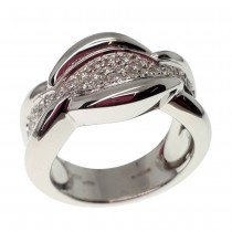 18ct White gold and diamond wide pave set ring
