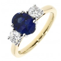 18CT YELLOW GOLD SAPPHIRE AND DIAMOND 3ST RING