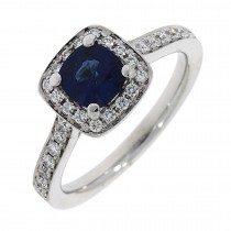 18CT WHITE GOLD SAPPHIRE AND DIAMOND HALO CLUSTER RING