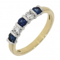 18CT YELLOW AND WHITE GOLD SAPPHIRE AND DIAMOND ETERNITY RING