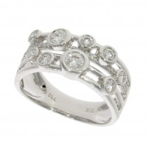 18ct White Gold & Diamond 3 Row Bubble Ring