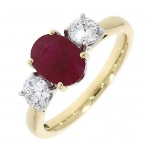 18CT YELLOW AND WHITE GOLD RUBY AND DIAMOND 3ST RING