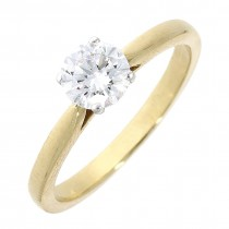 18CT AND PLATINUM SINGLE STONE DIAMOND RING