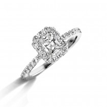 18ct White Gold Radiant Cut Diamond Ring by Bloch