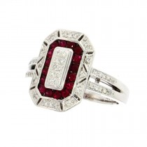 18ct White Gold Ruby & Diamond Octagonal Cluster Ring