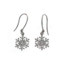 18ct White Gold Diamond Snow Flake Drop Earrings