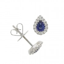 18CT WHITE GOLD, SAPPHIRE & DIAMOND PEAR SHAPED CLUSTER STUDS