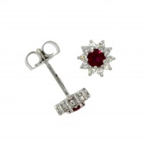 18ct White Gold Ruby & Diamond Round Star Stud Earrings