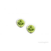 Sterling Silver August Birthstone Peridot Orbit Earrings