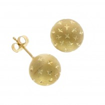 9ct Yellow Gold Star Ball Stud Earrings (9mm)