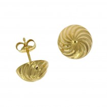 9ct Yellow Gold Swirl Stud Earrings (Large)