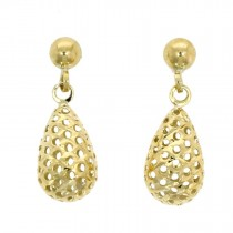 9ct Yellow Gold Pierced Bomb Drop Earrings