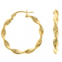 9ct Yellow Gold Wave Hoop Earrings (25mm)