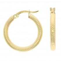 9ct Yellow Gold Textured Round Hoop Earrings (24mm)