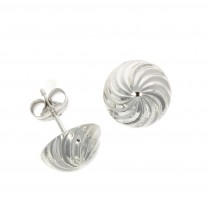 9ct White Gold Swirl stud Earrings (XL)