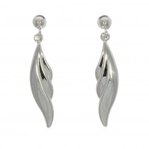 9ct White Gold Polished Leaf Drop Earrings