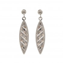 9ct White Gold Striped Marquise Drop Earrings