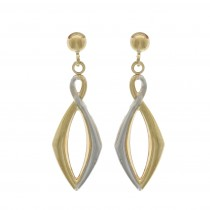 9ct Yellow & White Gold Angular Figure of Eight Drop Earrings