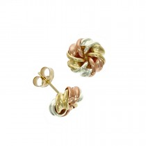 9ct Tri-Colour Fancy Knot Stud Earrings