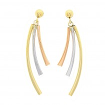 9ct Tri-Colour Gold 3 Row Curved Drop Earrings