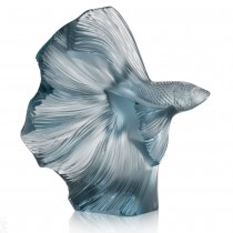 LALIQUE - FIGHTING FISH SMALL PERSEPOLIS BLUE SCULPTURE