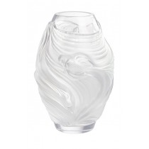 LALIQUE - POISSONS COMBATTANTS SMALL VASE, CLEAR CRYSTAL