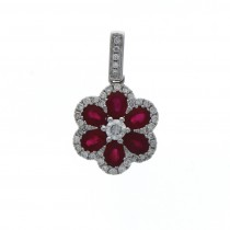 18ct White Gold Ruby & Diamond Oval & Brilliant Cut Flower Pendant