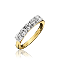 18ct Yellow Gold & Diamond 5 Stone Ring