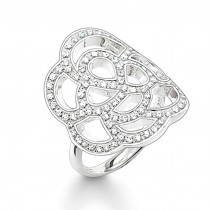 THOMAS SABO SILVER CZ OPEN FLOWER RING
