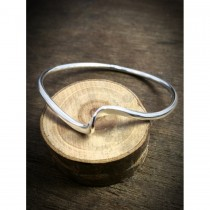 Yulan - Torque Sterling Silver Single Twisted Full Bangle