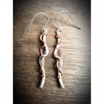 Yulan - 'Torque' Sterling Silver Double Twisted Earrings with Rose Gold