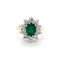 LADIES PRE OWNED 18CT YELLOW GOLD, EMERALD & DIAMOND CLUSTER RING