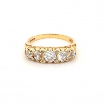 LADIES PRE OWNED 18CT YELLOW GOLD & DIAMOND VICTORIAN 5 STONE RING