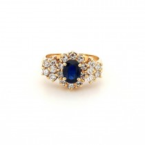 LADIES PRE OWNED 18CT YELLOW GOLD, SAPPHIRE & DIAMOND CLUSTER RING