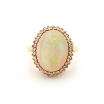 LADIES PRE OWNED 18CT YELLOW GOLD, OPAL & DIAMOND CLUSTER RING