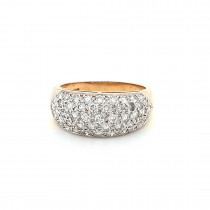 LADIES PRE OWNED 18CT YELLOW GOLD & DIAMOND PAVE RING