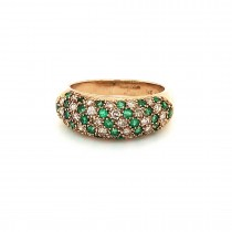 LADIES PRE OWNED 9CT YELLOW GOLD, EMERALD & DIAMOND PAVE RING