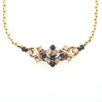 LADIES PRE OWNED 18CT YELLOW GOLD, SAPPHIRE & DIAMOND NECKLET