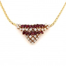 LADIES PRE OWNED 18CT YELLOW GOLD, RUBY & DIAMOND NECKLET