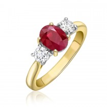 18ct Yellow Gold Ruby & Diamond Three Stone Ring