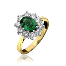 18ct Yellow Gold Emerald & Diamond Cluster Ring