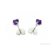 Sterling Silver February Birthstone Amethyst Stud Earrings