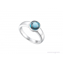 Sterling Silver & Blue Topaz Cabouchon Ring