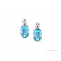 Sterling Silver Blue Topaz & Cubic Zirconia Earrings