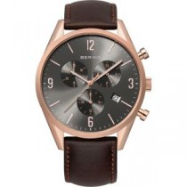 BERING CLASSIC COLLECTION MEN'S WATCH CALFSKIN BROWN