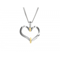 Ladies 9ct Yellow & White Gold Open Heart Pendant (without chain)