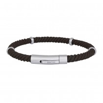 SON OF NOA bracelet brown cord w. steel parts 21cm 5mm
