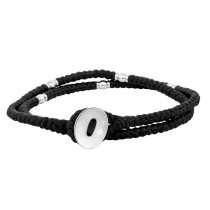 SON OF NOA bracelet black cord with steel 37cm