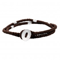 SON OF NOA bracelet brown cord with steel 41cm