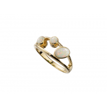 Ladies 9ct Yellow Gold & Opal Rub-over Dress Ring